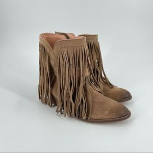 Gallery leather fringe booties brown size 36